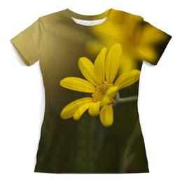 """Футболка с полной запечаткой (женская) """"Цветок"""" - лето, цветы, девушкам, природа, поле"""