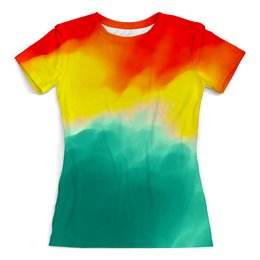 """Футболка с полной запечаткой (женская) """"WaterColor"""" - краска, абстракция красок, потертость красок"""