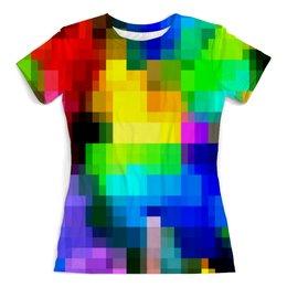 """Футболка с полной запечаткой (женская) """"Pixel"""" - абстракция, color, краска, текстуры, брызги красок"""
