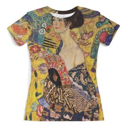 """Футболка с полной запечаткой (женская) """"Дама с веером (Густав Климт)"""" - картина, живопись, климт"""