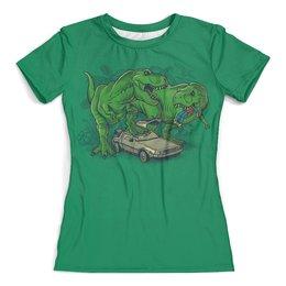 """Футболка с полной запечаткой (женская) """"Динозавры"""" - животные, машина, динозавры, динозавр, арт дизайн"""