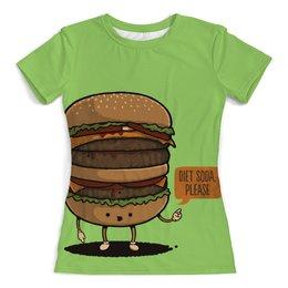 """Футболка с полной запечаткой (женская) """"Веселый Бургер"""" - арт, еда, напитки, бургер"""