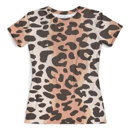 """Футболка с полной запечаткой (женская) """"Леопардовый"""" - животные, кошки, леопард, леопардовый"""