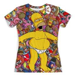 "Футболка с полной запечаткой (женская) ""American beauty by Homer Simpson"" - симпсоны, гомер симпсон, the simpsons, homer simpson"