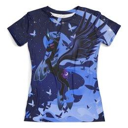 """Футболка с полной запечаткой (женская) """"my little pony"""" - арт, my little pony, крылья, луна, пони"""