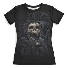 """Футболка с полной запечаткой (женская) """"Skull Art"""" - skull, череп, тьма, зло, ужасы"""