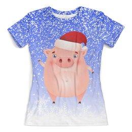 """Футболка с полной запечаткой (женская) """"Новый год (Свинья)"""" - зима, снег, символ нового года, свинья, хрюша"""