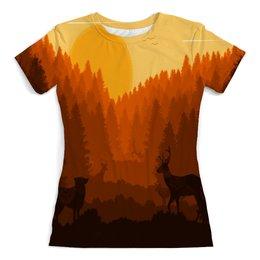 """Футболка с полной запечаткой (женская) """"Природа леса"""" - животные, лес, деревья, природа, олени"""