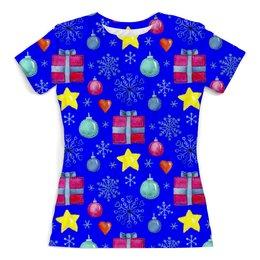 """Футболка с полной запечаткой (женская) """"новый год"""" - новый год, звезды, зима, игрушки, подарки"""