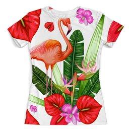 """Футболка с полной запечаткой (женская) """"Птицы и цветы"""" - лето, цветы, птицы, природа, фламинго"""