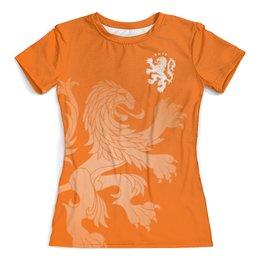 """Футболка с полной запечаткой (женская) """"Сборная Голландии"""" - футбол, нидерланды, футбол 2018, футбольные команды, сборная голландии"""