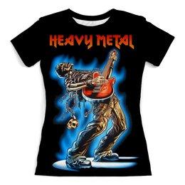 """Футболка с полной запечаткой (женская) """"Heavy Metal"""" - музыка, skull, череп, гитара, heavy metal"""
