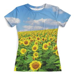 """Футболка с полной запечаткой (женская) """"sunflower t-shirt"""" - sun, sunflower, sky, подсолнух, небо"""