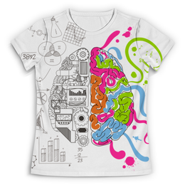 """Футболка с полной запечаткой (Женская) """"AnGet-ART"""" - мозг, графика, краски, яркость, творчество"""