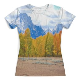 """Футболка с полной запечаткой (женская) """"Деревья в горах"""" - горы, пейзаж, природа, лес, осень"""