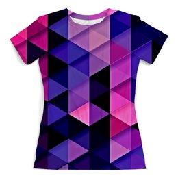 """Футболка с полной запечаткой (женская) """"цветпарад"""" - абстракция, цветные, геометрия, abstraction, треугольники"""