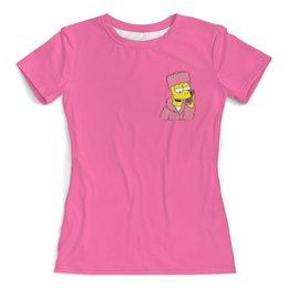 """Футболка с полной запечаткой (женская) """"Bart Simpson"""" - мультики, симпсоны, simpson, bart simpson, барт симпсон"""