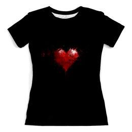 """Футболка с полной запечаткой (женская) """"Сердце"""" - сердце, любовь, арт, стиль, дизайн"""