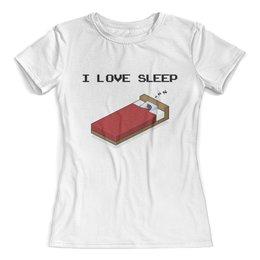 """Футболка с полной запечаткой (женская) """"""""I love sleep"""" пиксель арт"""" - сон, хобби, пиксель арт, образ жизни, увлечения"""