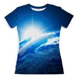 """Футболка с полной запечаткой (женская) """"Восход"""" - стиль, солнце, планета, космос, земля"""
