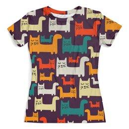 """Футболка с полной запечаткой (женская) """"Спящие котики"""" - коты, животные, спящие котики, прикольные коты"""