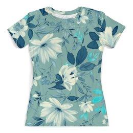 """Футболка с полной запечаткой (женская) """"Цветы. Акварель"""" - цветы, листья, синий, акварель"""