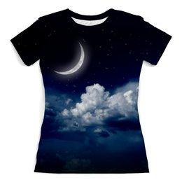 """Футболка с полной запечаткой (женская) """"Темная ночь"""" - космос, ночь, небо, луна"""