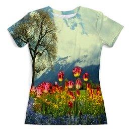 """Футболка с полной запечаткой (женская) """"Горный пейзаж"""" - растение, весна, природа, горы, цветочки"""