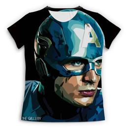 """Футболка с полной запечаткой (Женская) """"Капитан Америка"""" - marvel, мстители, dc, капитан америка"""