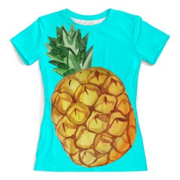 """Футболка с полной запечаткой (женская) """"Ананас"""" - акварель, лето, экзотический, фрукты, ананас"""