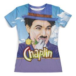 """Футболка с полной запечаткой (женская) """"Chaplin"""" - смех, юмор, клоун, комик, чарли чаплин"""