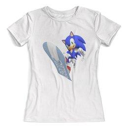 """Футболка с полной запечаткой (женская) """"Sonic"""" - игры, ежик, мульт, соник, sonic"""