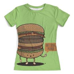 """Футболка с полной запечаткой (женская) """"Веселый Бургер"""" - бургер, еда, арт, напитки"""