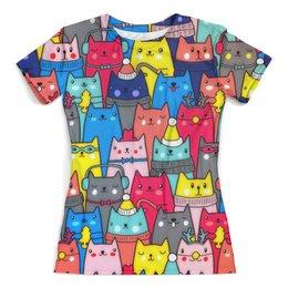 """Футболка с полной запечаткой (женская) """"Котики"""" - котики, коты, котэ, животные, новый год"""