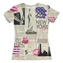 """Футболка с полной запечаткой (женская) """"New York"""" - нью йорк, города, new york, газета, журнал"""
