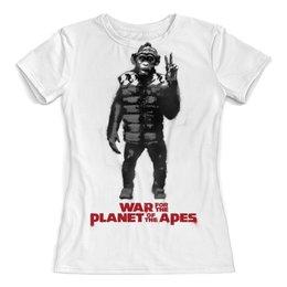 """Футболка с полной запечаткой (женская) """"Планета обезьян / Planet of the Apes"""" - рисунок, кино, обезьяна, планета обезьян"""