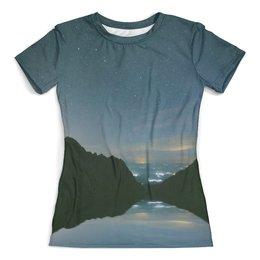 """Футболка с полной запечаткой (женская) """"Вечерний пейзаж"""" - звезды, природа, горы, вода, берег"""
