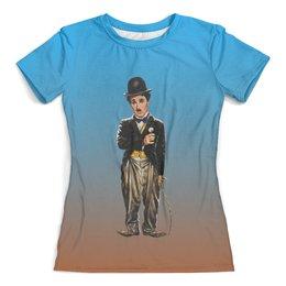 """Футболка с полной запечаткой (женская) """"Чарли Чаплин"""" - юмор, актер, комик, немое кино"""