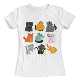 """Футболка с полной запечаткой (женская) """"Цветные кошки"""" - кот, кошка, животные, котята"""