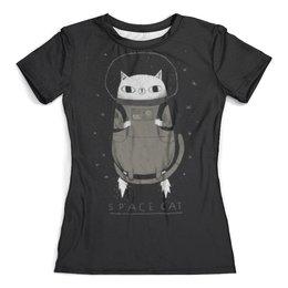 """Футболка с полной запечаткой (женская) """"Space cat"""" - кот, space, cat, космос, cosmic"""