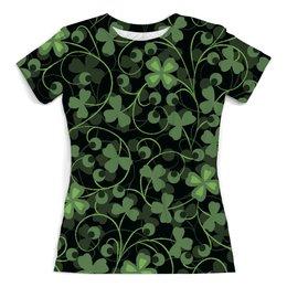 """Футболка с полной запечаткой (женская) """"Клевер"""" - клевер, листья, зеленый, природа, листва"""