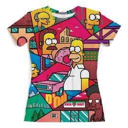 """Футболка с полной запечаткой (женская) """"The Simpsons"""" - юмор, жене, мультфильмы, симпсоны, женщине"""