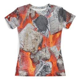 """Футболка с полной запечаткой (женская) """"Пожар"""" - огонь, пламя, fire, вулкан, огненный"""