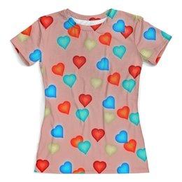 """Футболка с полной запечаткой (женская) """"Сердечки"""" - любовь, сердца, день святого валентина, сердечки, я люблю"""