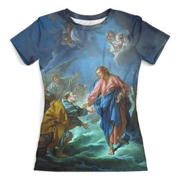 """Футболка с полной запечаткой (женская) """"Святой Петр, пробующий идти по воде"""" - картина, франсуа буше, живопись"""