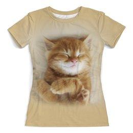 """Футболка с полной запечаткой (женская) """"Рыжий котенок"""" - кот, кошка, животные, котенок"""