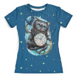 """Футболка с полной запечаткой (женская) """"Чеширский кот """" - часы, котик, сказка, алиса в стране чудес"""