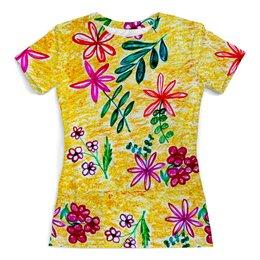 """Футболка с полной запечаткой (женская) """"Цветы на желтом"""" - красиво, лето, цветы, счастье"""