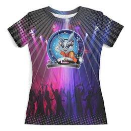 """Футболка с полной запечаткой (женская) """"DJ Rabbit (Disco)"""" - музыка, танцы, дискотека, ночной клуб, ди джэй"""