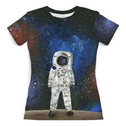 """Футболка с полной запечаткой (женская) """"Космонавт"""" - арт, космос, космонавт"""